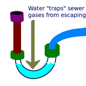 water traps sewer gas - rv p-trap