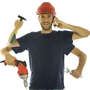 handyman with tools and extra arms - DrainMaster - tip for seal installation