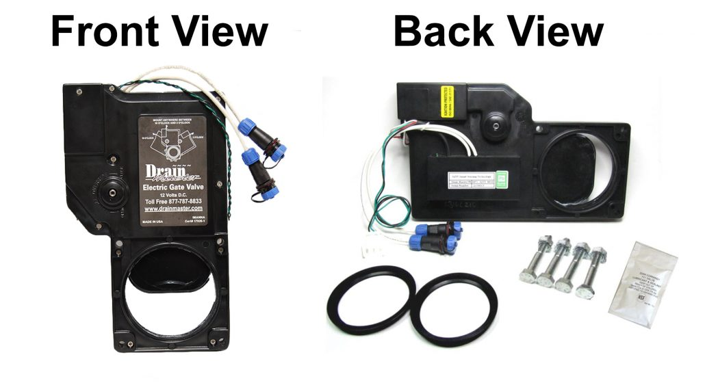RV Pro Series Electric Waste Valve Front and Back View